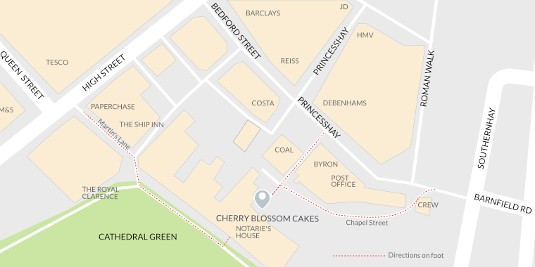 map and directions to Cherry Blossom cakes